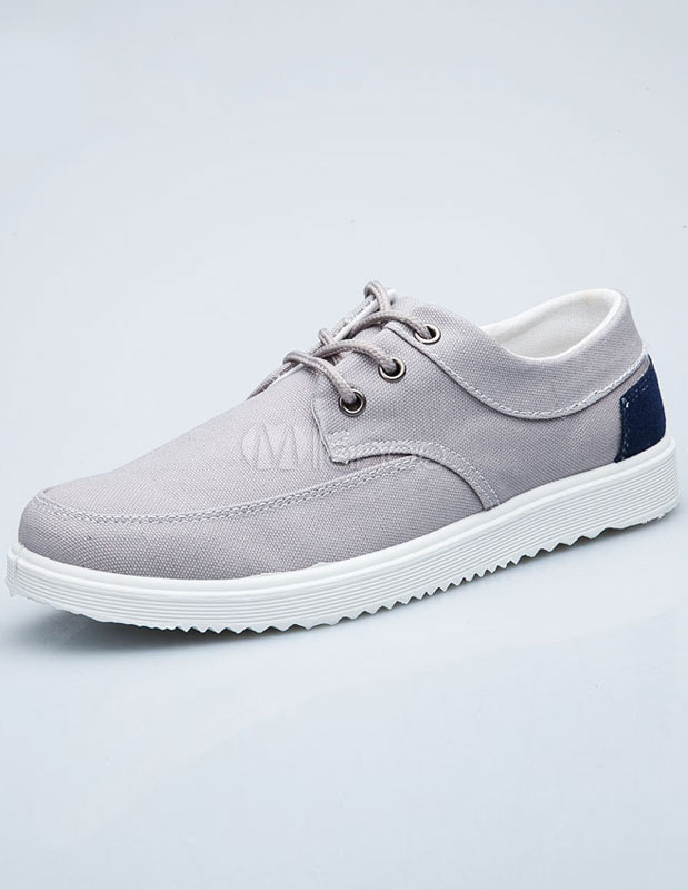 Gray Canvas Causal Sneakers For Men thumbnail