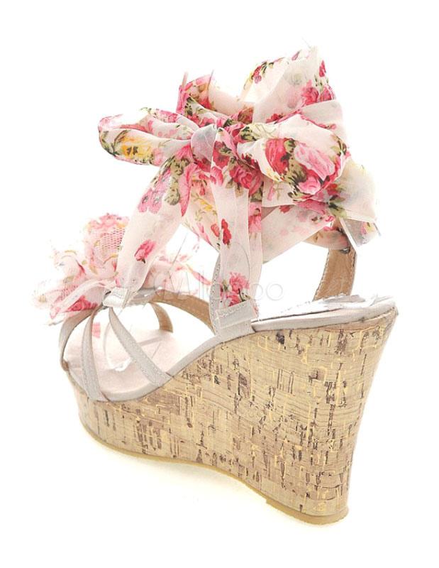 Sandales compens es ruban aux chevilles en pu avec fleur - Lacet ruban pour chaussure ...
