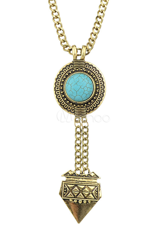 Bronze Vintage Geometric Alloy Necklace for Women