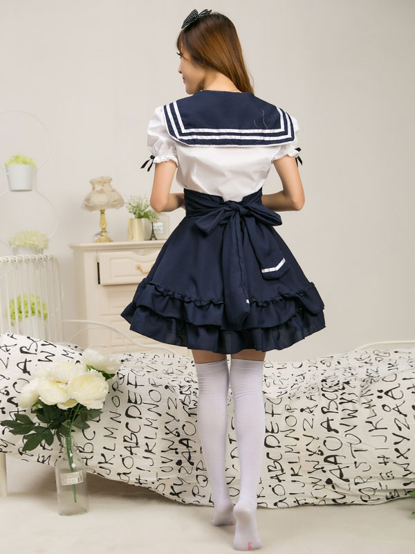 marin style robe lolita charmante en tissu uniforme bleu marine avec noeud jolie col revers. Black Bedroom Furniture Sets. Home Design Ideas