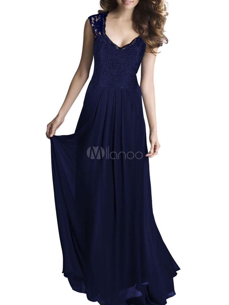 robe longue ond avec dentelle col v. Black Bedroom Furniture Sets. Home Design Ideas