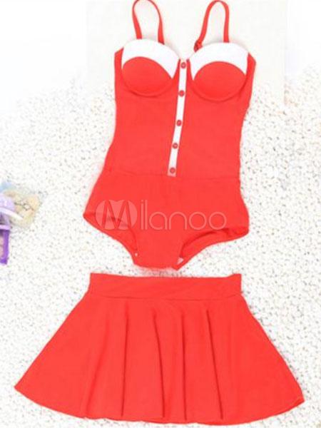 Traje De Baño Rojo Pelicula:Traje de baño una pieza Spandex bicolor para dama – Milanoocom
