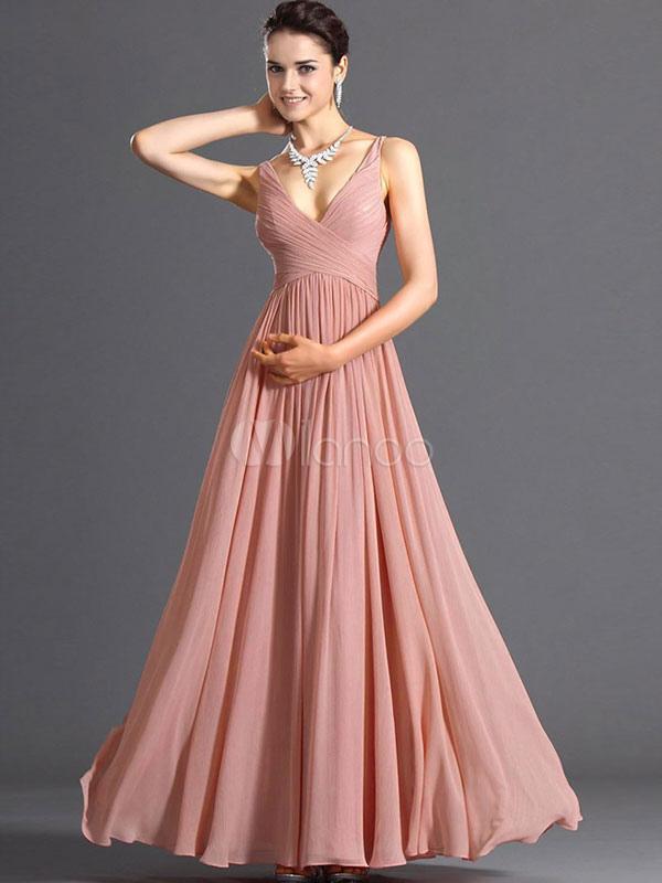 Pink Maxi Dress 2018 V Neck Chiffon Long Prom Dress For Women (Women\\'s Clothing Maxi Dresses) photo