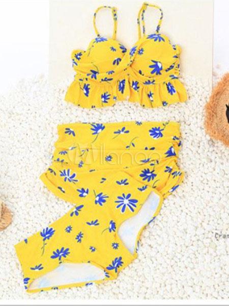 Trajes De Baño Azul Siete:Spandex azul de impresión Floral 3 piezas traje de baño para las