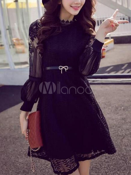 Black Sash Lace Sexy Flared Dress for Women (Women\\'s Clothing Lace Dresses) photo