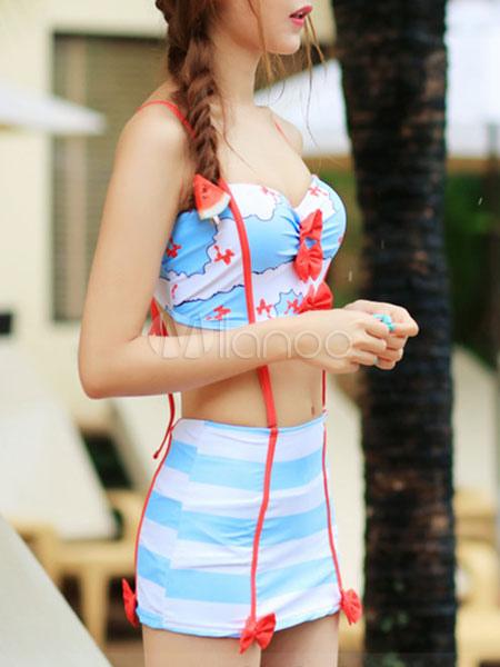 Trajes De Baño Azul Siete:Luz del cielo azul impreso traje de baño con arcos para las mujeres