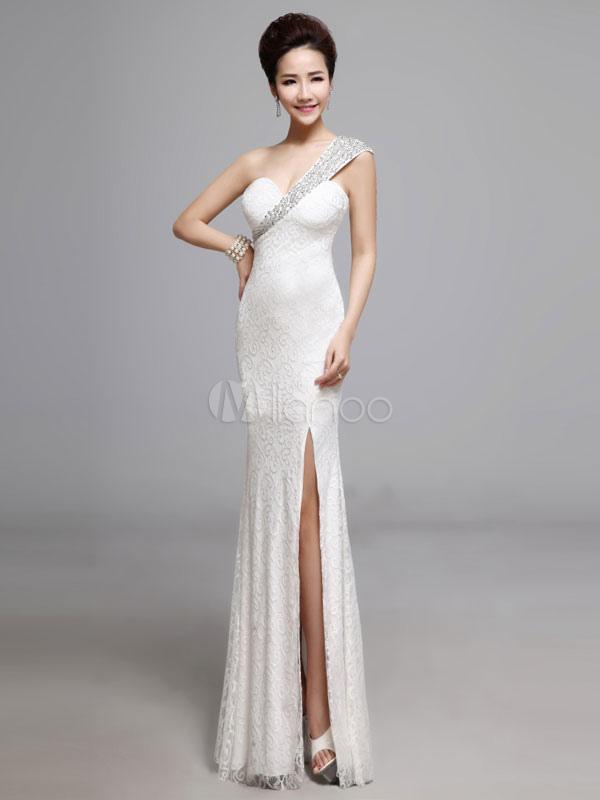White Lace Long Dress One Shoulder Split Maxi Dress For Women (Women\\'s Clothing Lace Dresses) photo