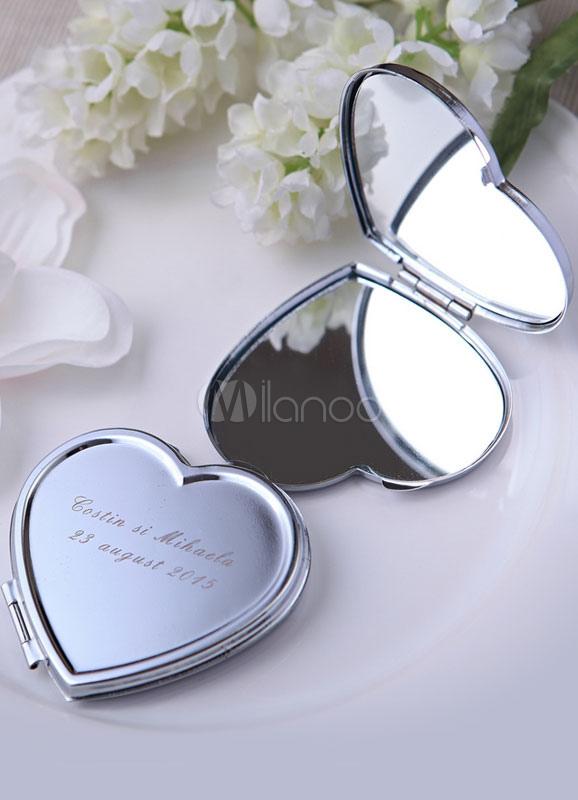 Silver Heart Shape Make up Mirror Wedding Favor