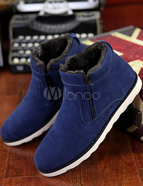 Blue Micro Suede Cashmere Boots for Men thumbnail