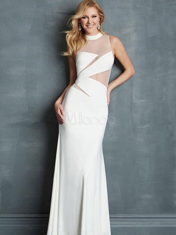 White Long Dress Semi-Sheer Lycra Spandex Maxi Dress For Women (Women\\'s Clothing Maxi Dresses) photo
