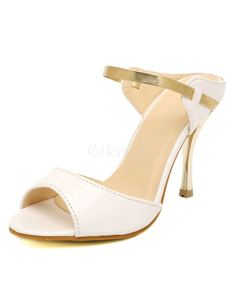 white gold peep toe pu dress sandals for milanoo