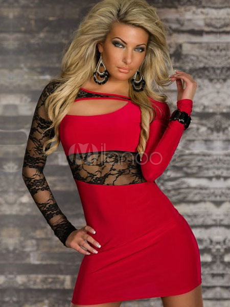 Red Cut-Out Lace Paneled Milk Silk Club Dress for Women (Women\\'s Clothing Club Dresses) photo