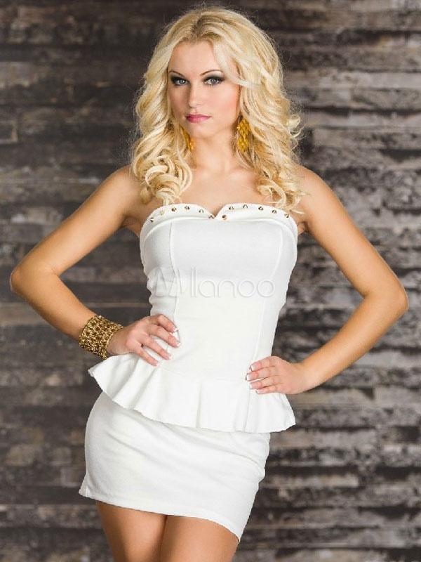 White Strapless Milk Silk Club Dress for Women (Women\\'s Clothing Club Dresses) photo
