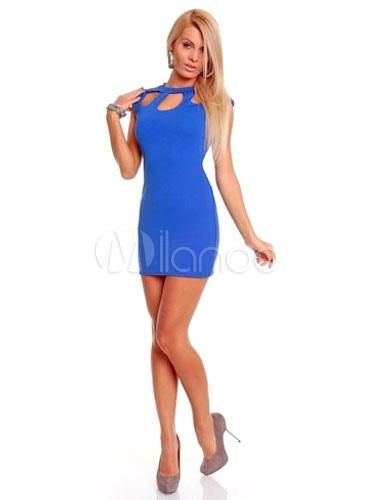 Blue Cut-Out Milk Silk Sexy Club Dress for Women (Women\\'s Clothing Club Dresses) photo