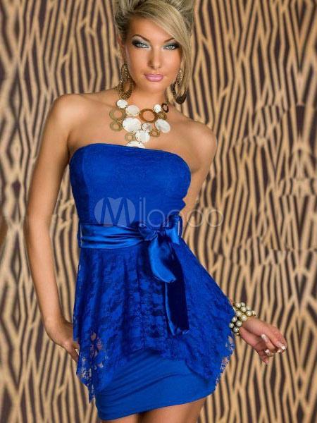 Blue Bows Strapless Milk Silk Club Dress for Women (Women\\'s Clothing Club Dresses) photo