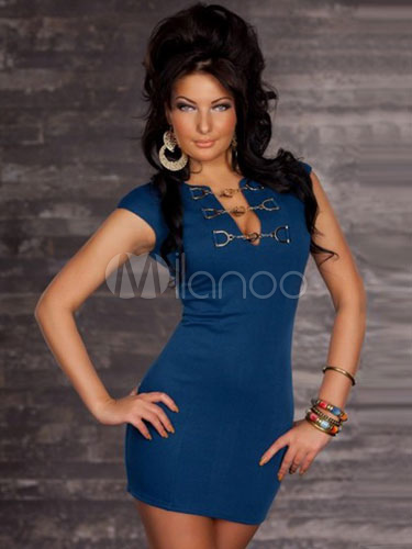 Blue Deep-V Bodycon Milk Silk Club Dress for Women (Women\\'s Clothing Club Dresses) photo