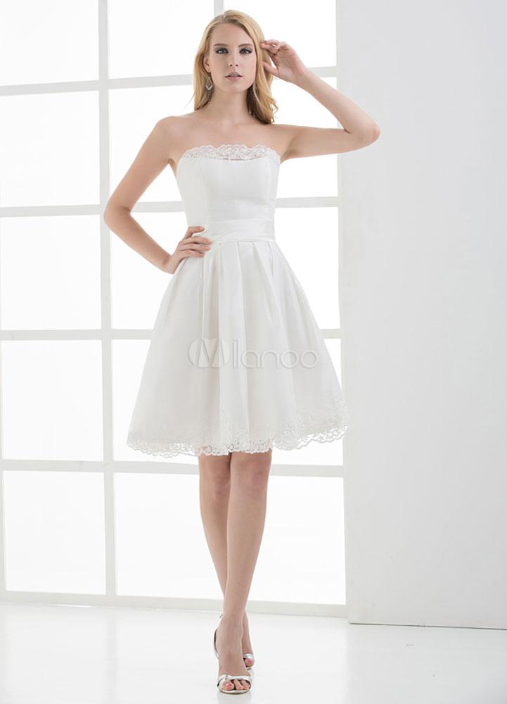 White Strapless A-Line Lace Up Satin Bridesmaid Dress (Wedding Bridesmaid Dresses) photo