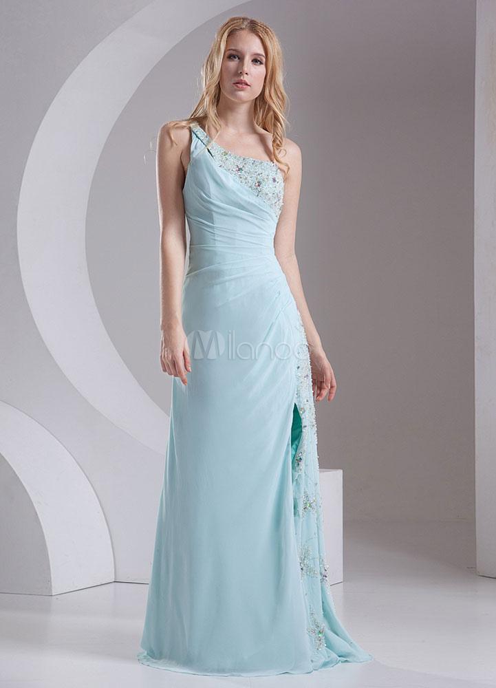One Shoulder Bridesmaid Dress Mint Green Ruched Straps Split Party Dress (Wedding Bridesmaid Dresses) photo