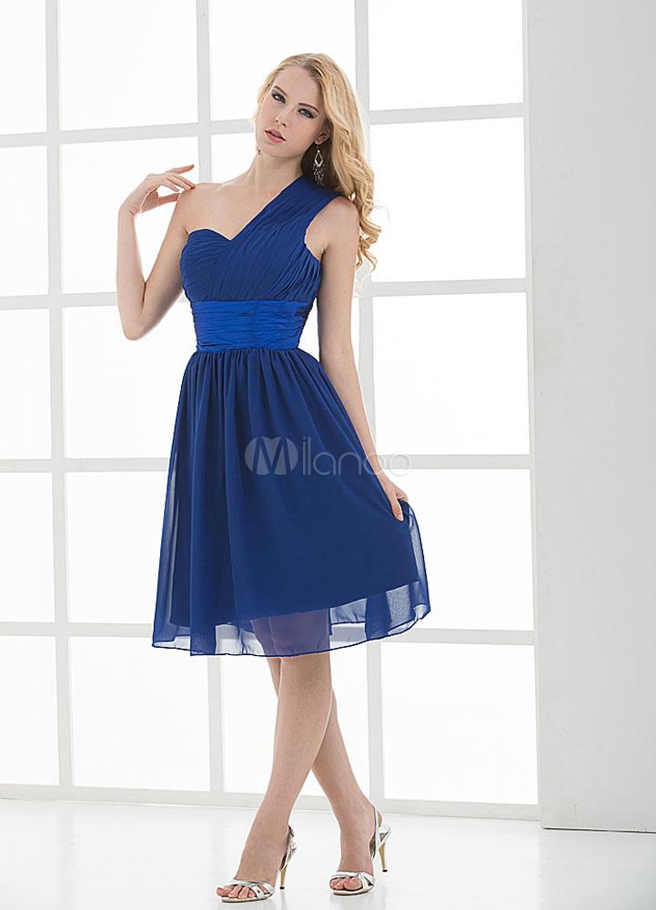 Royal Blue One-Shoulder Sash Ruffled Chiffon Bridesmaid Dress (Wedding Bridesmaid Dresses) photo