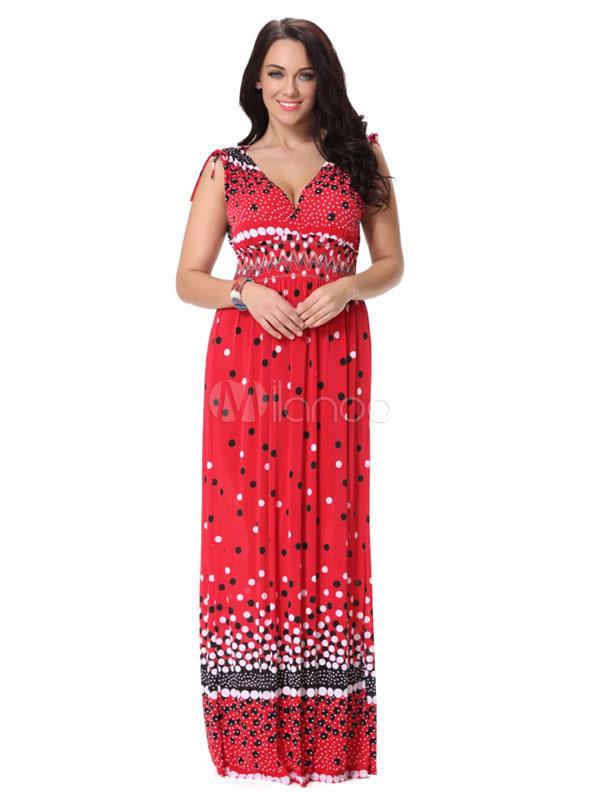 Plus Size Dress Red Print Polka Dot Deep-V Milk Silk Maxi Dress For Women (Women\\'s Clothing Plus Size Clothing) photo