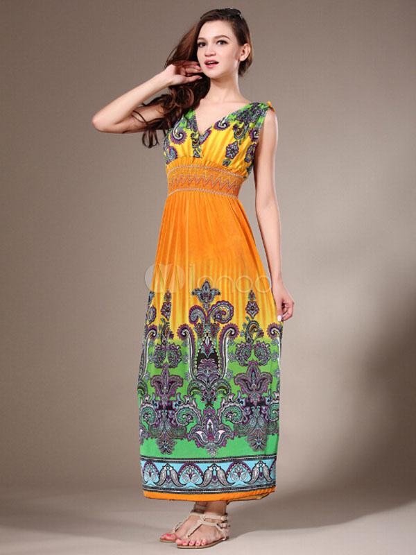 Beach Long Dress Tribal Print Deep-V Milk Silk Plus Size Maxi Dress For Women (Women\\'s Clothing Maxi Dresses) photo