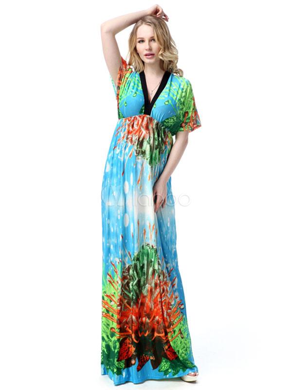 Kimono Long Dress Printed V-neck Milk Silk High Waist Maxi Dress For Women (Women\\'s Clothing Maxi Dresses) photo