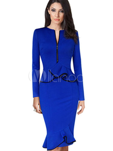 Blue Ruffles Zippers Polyester Bodycon Dress for Women