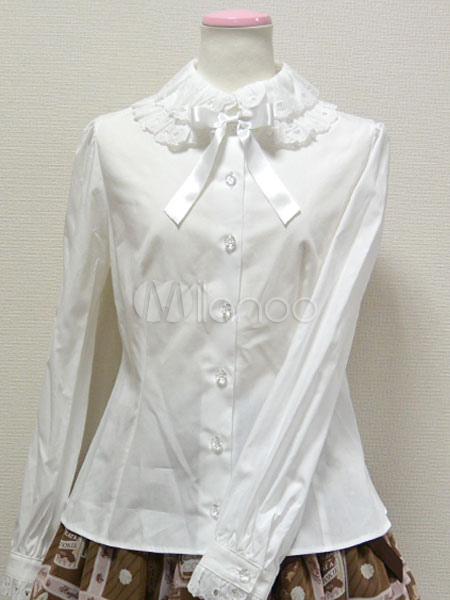 White Bows Ruched Cotton Lolita Shirt for Women thumbnail