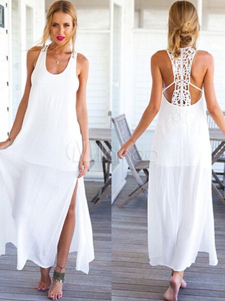 White Lace Straps Split Summer Dress for Women (Women\\'s Clothing Summer Dresses) photo