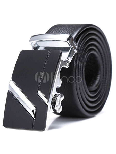 Black Embossed Metallic Leather Fashionable Belt for Men thumbnail
