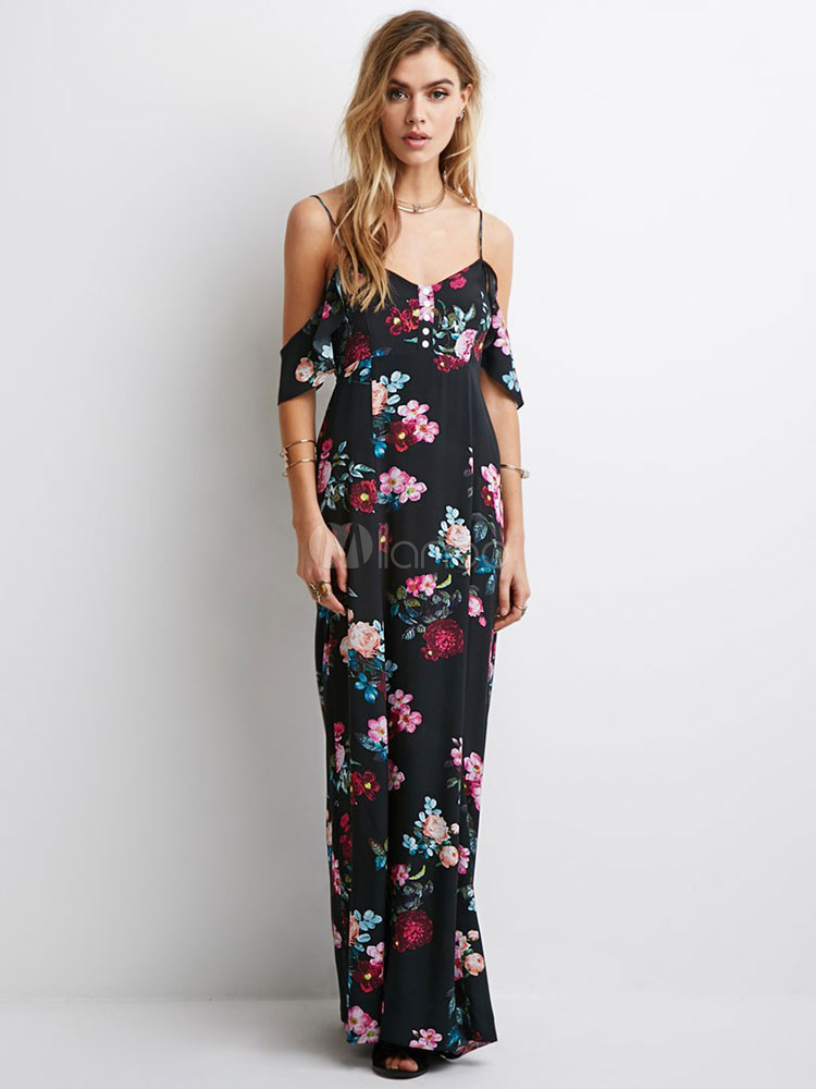Black Straps Print Acetate Maxi Dress for Women (Women\\'s Clothing Maxi Dresses) photo