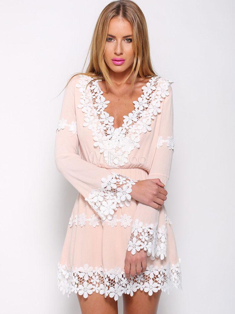 Pink Lace Deep-V Cotton Blend Mini Dress for Women (Women\\'s Clothing Mini Dresses) photo