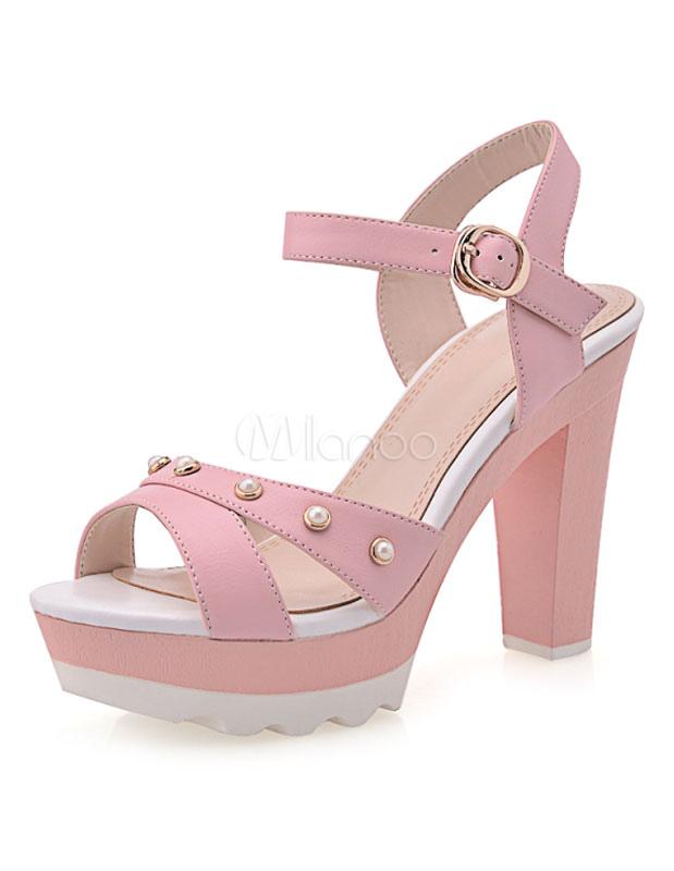 rosa plattform schicke nieten offener spitze pu sandalen. Black Bedroom Furniture Sets. Home Design Ideas
