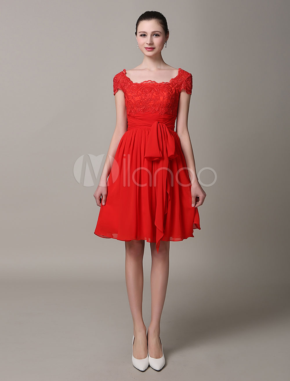 Red A-Line Lace Sash Homecoming Dress (Wedding) photo