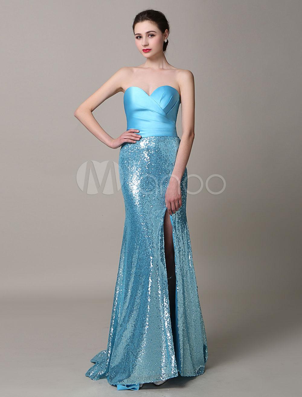 Blue Split Strapless Satin Sequined Evening Dress (Wedding Evening Dresses) photo