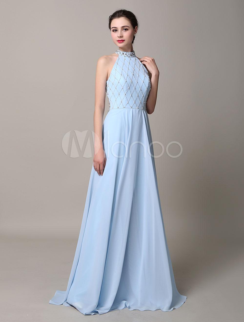 Light Sky Blue Cross Backless A-Line Beaded Evening Dress (Wedding Evening Dresses) photo