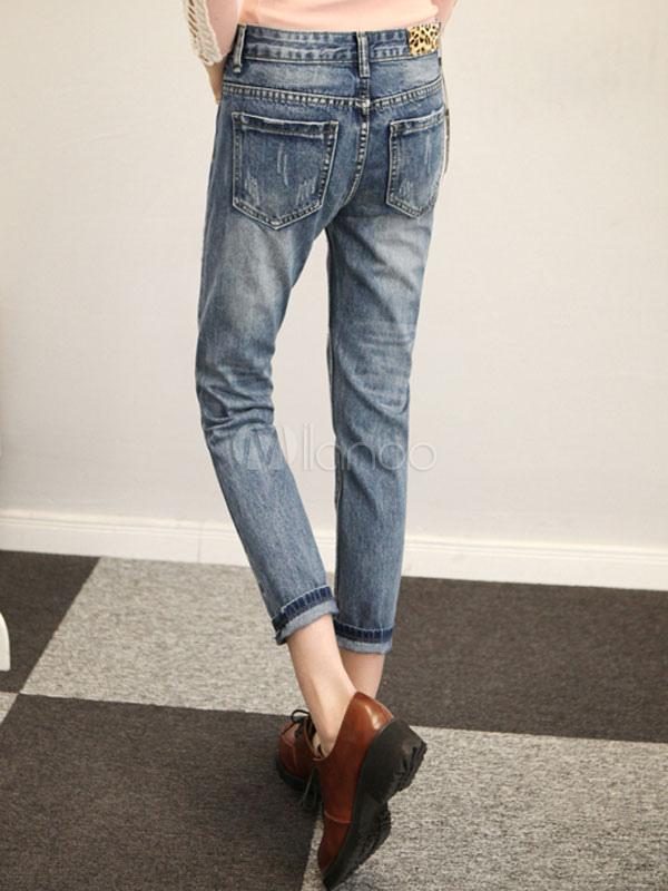 blue vintage print zerrissene jeans f r frauen. Black Bedroom Furniture Sets. Home Design Ideas