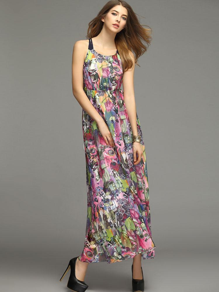 robe d 39 t multicolore chiffon fleurie et bretelles. Black Bedroom Furniture Sets. Home Design Ideas