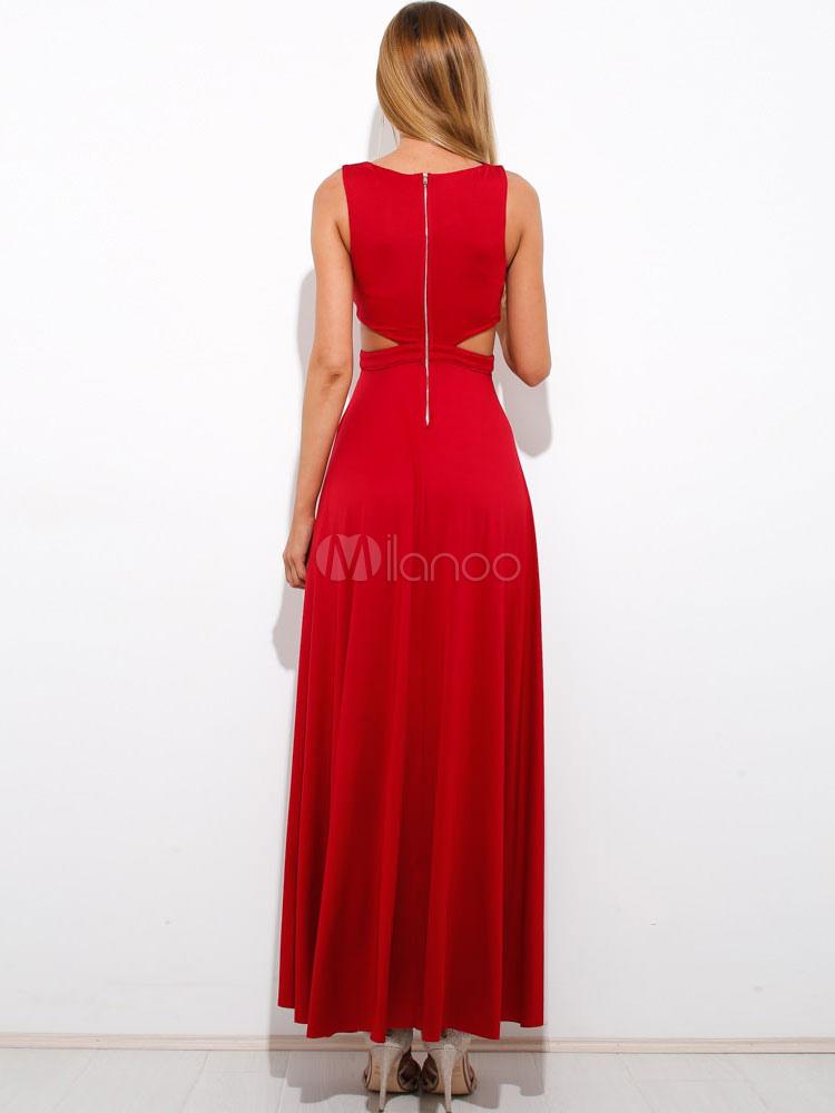 robe longue rouge poitrine ouverte bretelle t col v. Black Bedroom Furniture Sets. Home Design Ideas