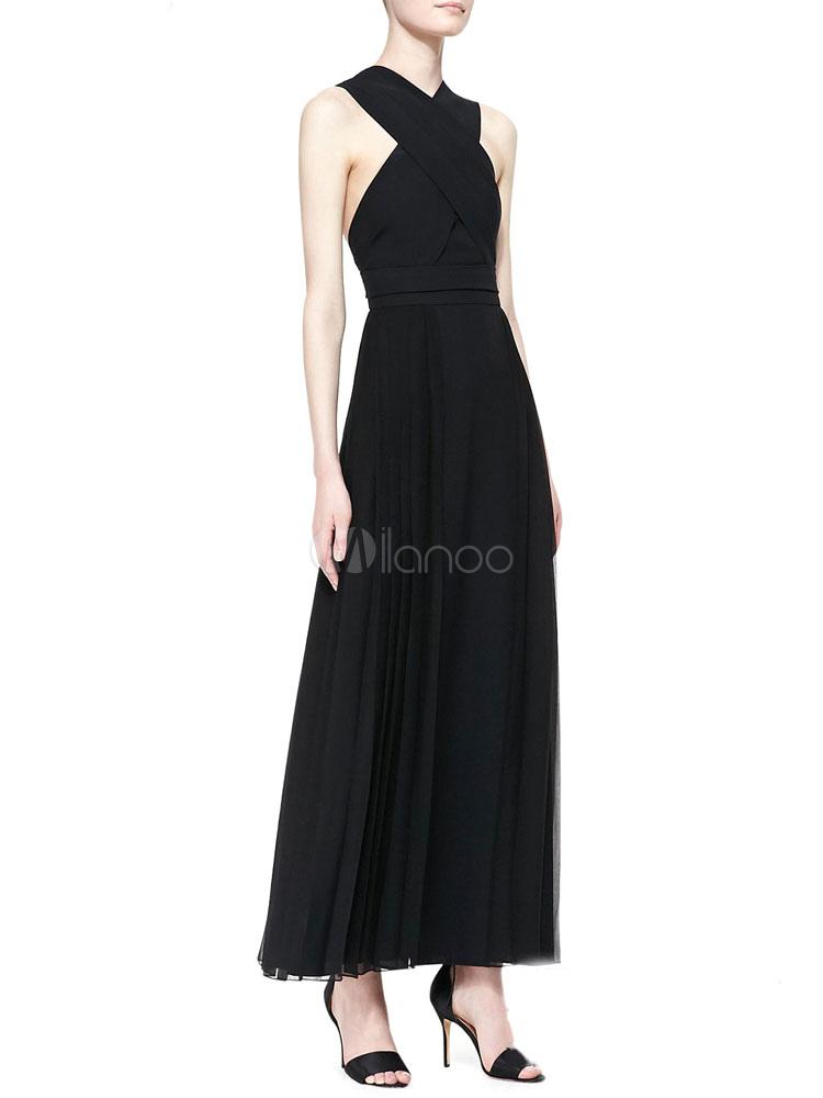 Black Cross Back Synthetic Maxi Dress for Women (Women\\'s Clothing Maxi Dresses) photo