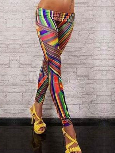 Multicolor Spandex Leggings With Stripes Print for Women
