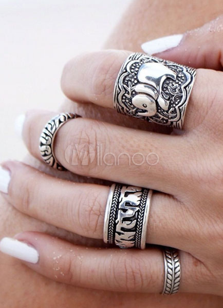 Women Knuckle Ring Ethnic Embossed Silver Ring Set thumbnail