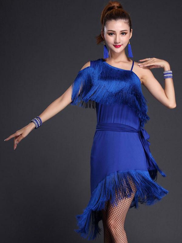 Blue Latin Dance Dress Fringe One Shoulder Milk Silk Dress (Costumes Latin Dance Costumes) photo