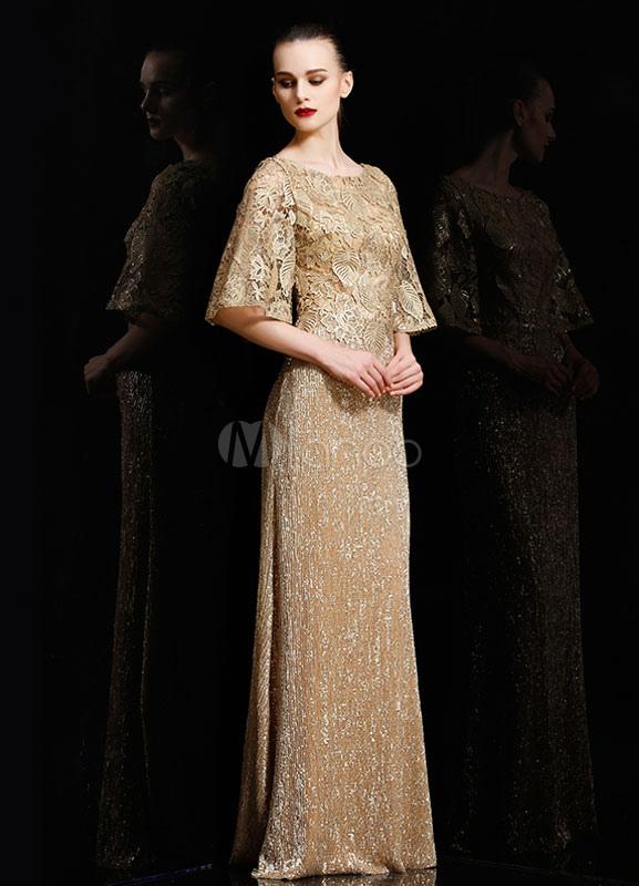 Gold Sequins Satin Evening Dress Prom Dress 2018 For Women (Wedding Prom Dresses) photo