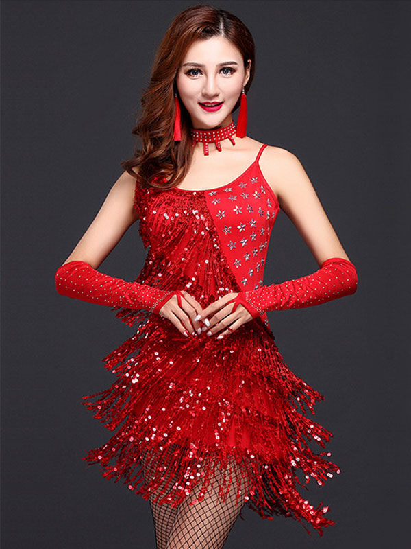Red Latin Dance Dress Straps Fringe Milk Silk Dress (Costumes Latin Dance Costumes) photo