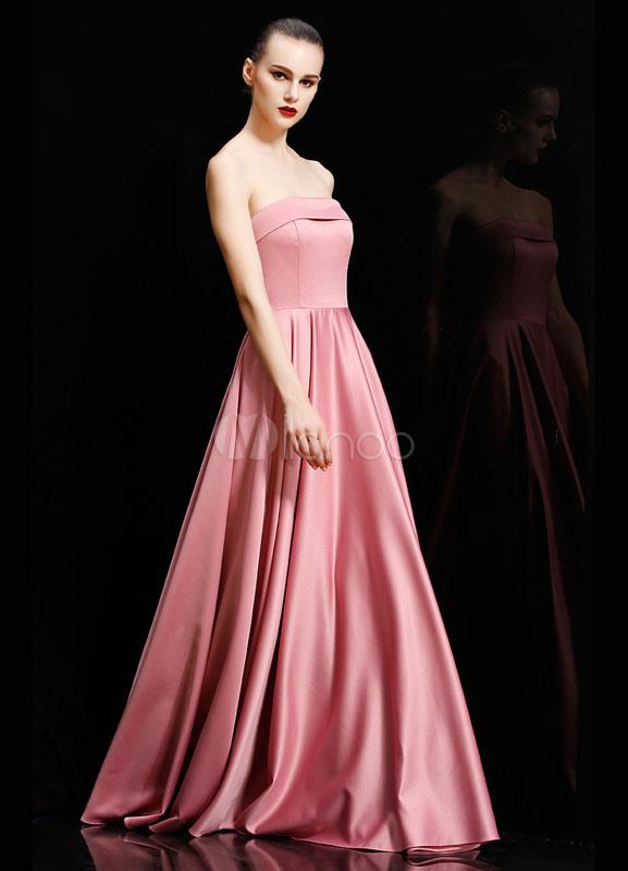 Schulterfreies abendkleid lachs falten satin kleid for Milanoo abendkleider