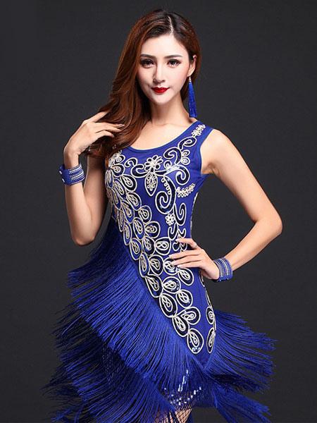 Blue Latin Dance Dress Fringe Print Milk Silk Dress (Costumes Latin Dance Costumes) photo