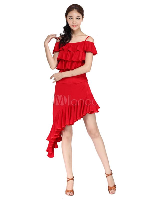 Red Straps Latin Dance Dress High Low Milk Silk Dress (Costumes Latin Dance Costumes) photo