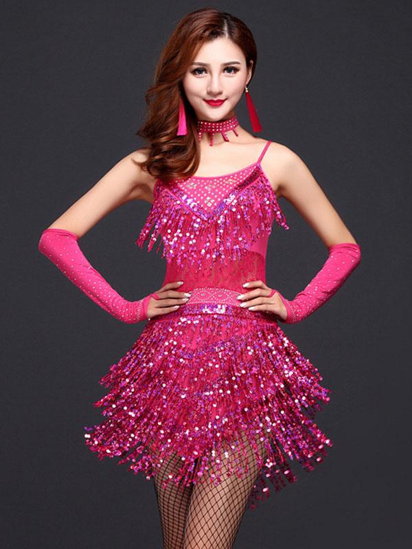 Rose Red Sequins Latin Dance Dress Fringe Milk Silk Dress (Costumes Latin Dance Costumes) photo