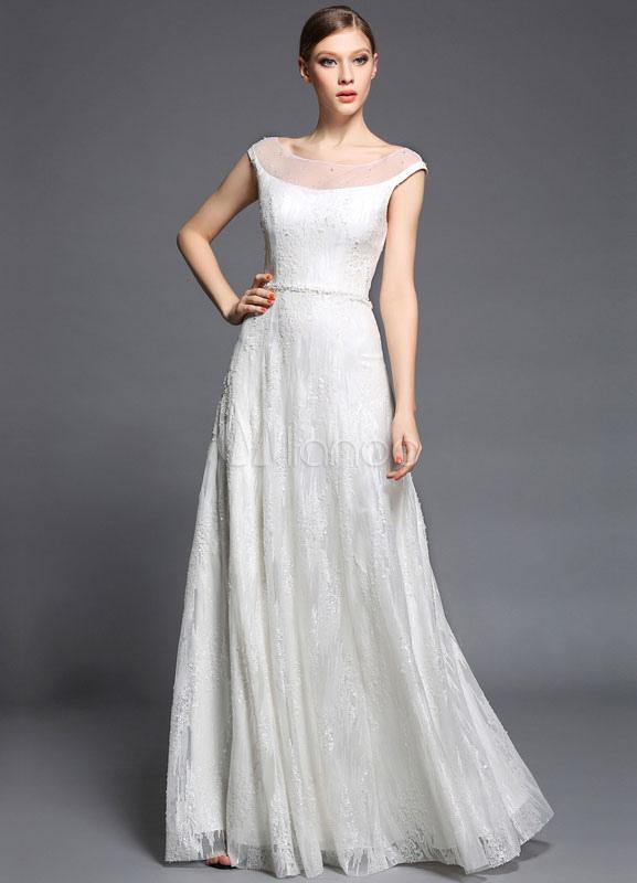 White Maxi Prom Dress 2018 Sequins Satin Tulle Dress (Wedding Prom Dresses) photo